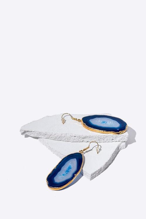 Blue Agate Slice Earrings