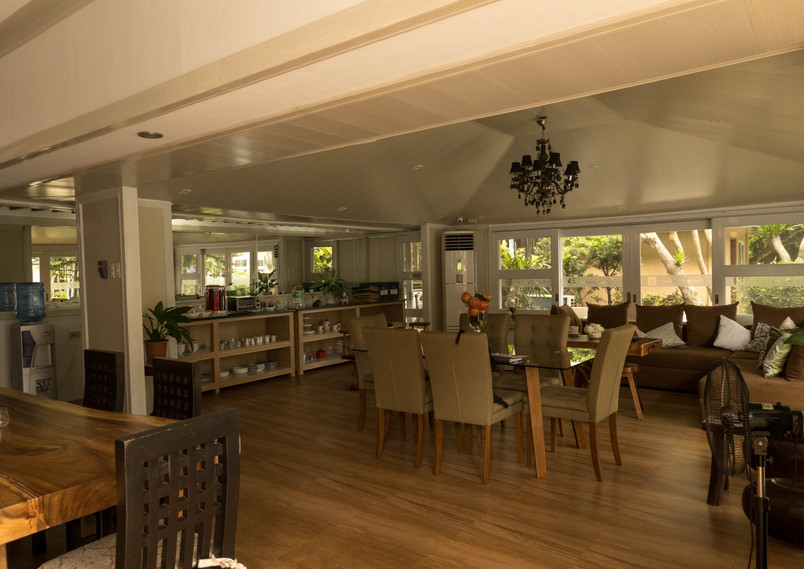 Common Area Buffet Area with Couch and Dining Table