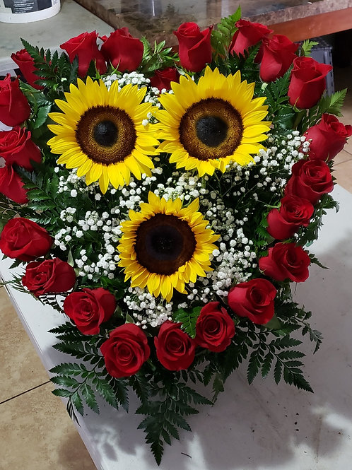 Sunflower with roses