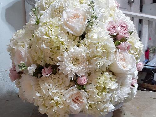 Basket Flower white and pink Arrangement