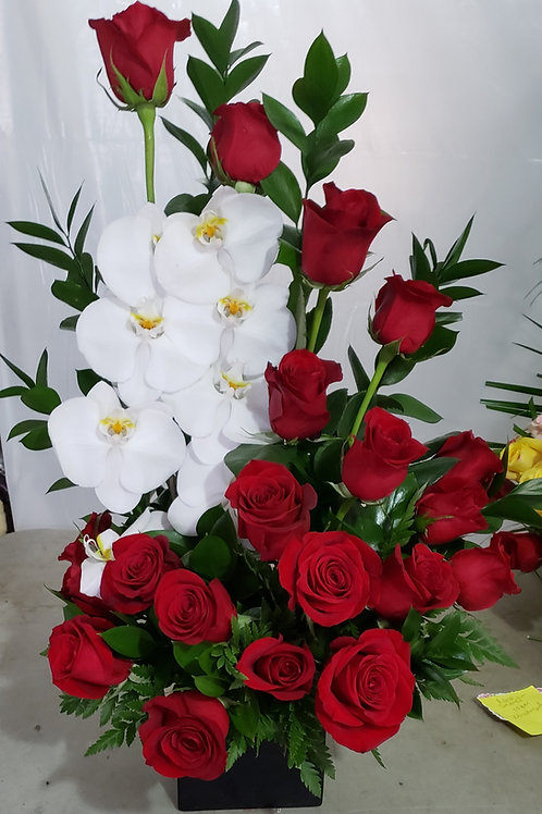 Red roses with orchid