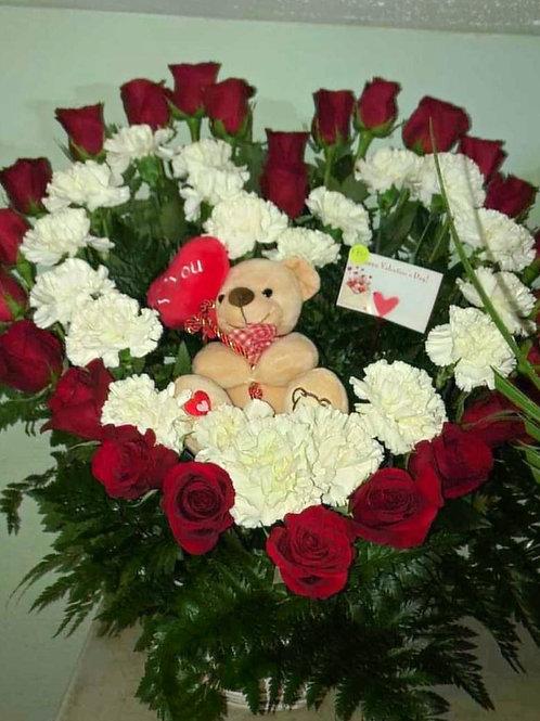 Heart shape rose, carnation arrangement