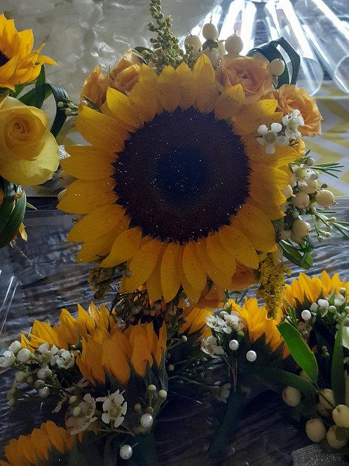 Yellow  Mini Sun Flower Corsage For Men