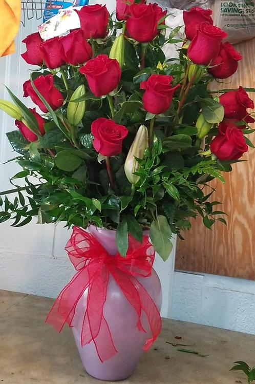 Flower arrangement 2 dozen roses with greenery