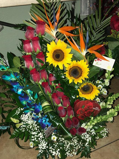 Roses, orchid, sunflower, tropical