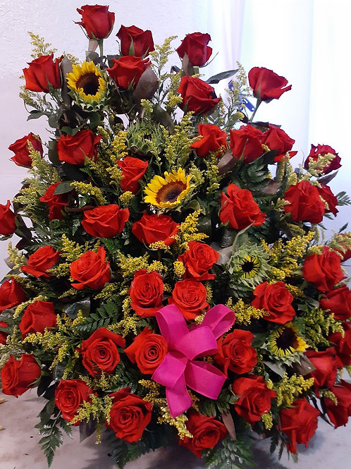 6 dozen red roses with yellow filler