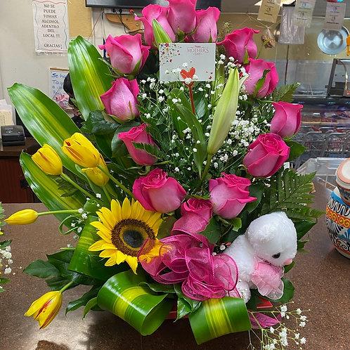 Flower arrangement Roses, tulip, sunflower