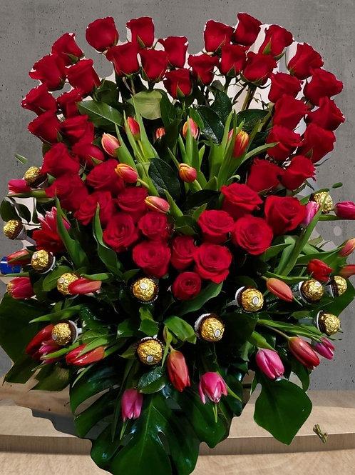 Romantic Heart tulip rose flower arrangement with chocolate