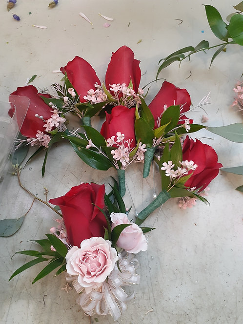 Red rose corsages for men price for each one