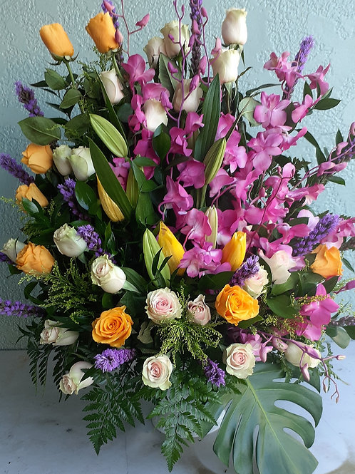 Wild roses with orchid and lilys