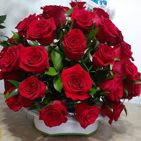 Basket Flower arrangement round all roses 2 dozen