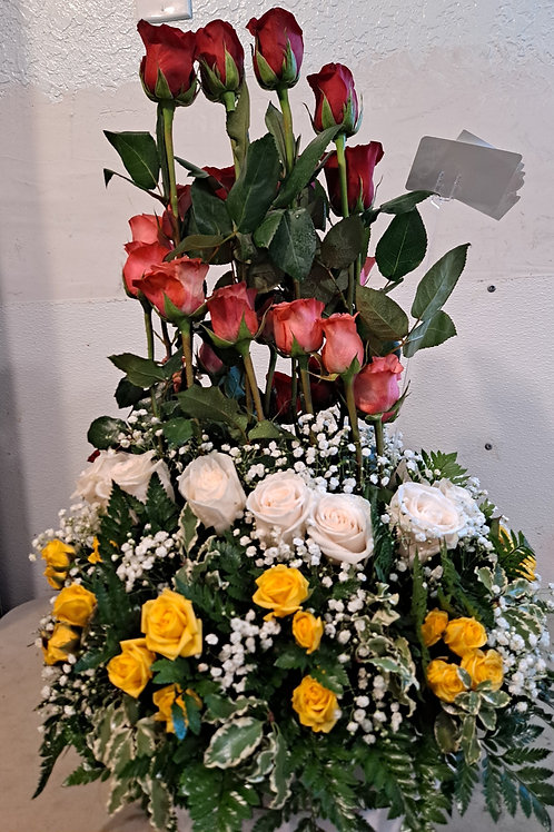 Tall Flower arrangement mix color roses 3 dozen