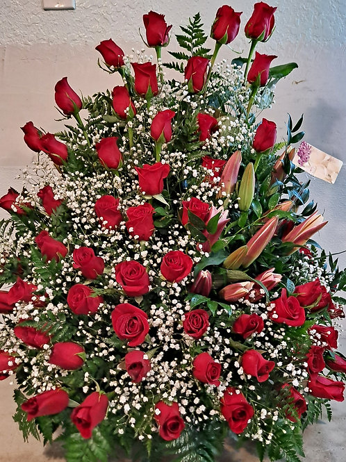 6 dozen roses with baby breath and Lilys