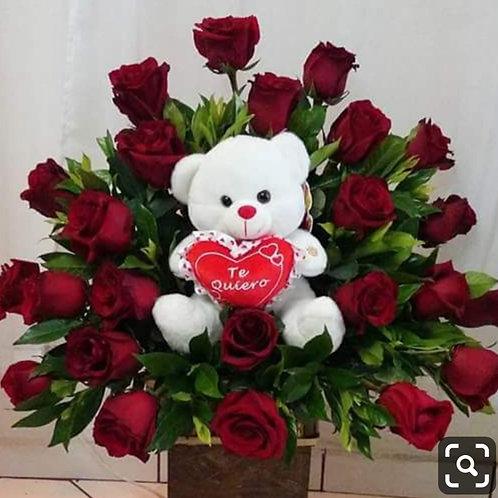 Flower arrangement roses with bear
