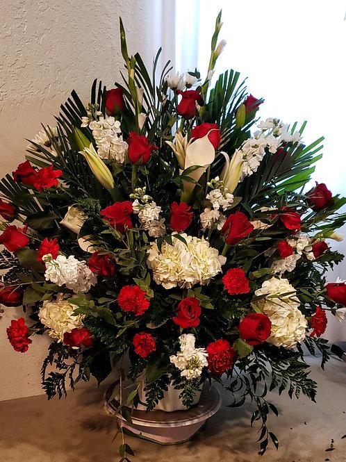 Roses, Carnations, Lilys, hydrangeas large round arrangement