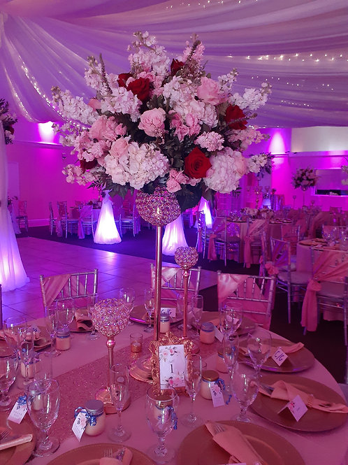Pink, Red, White wedding flower arrangement Only
