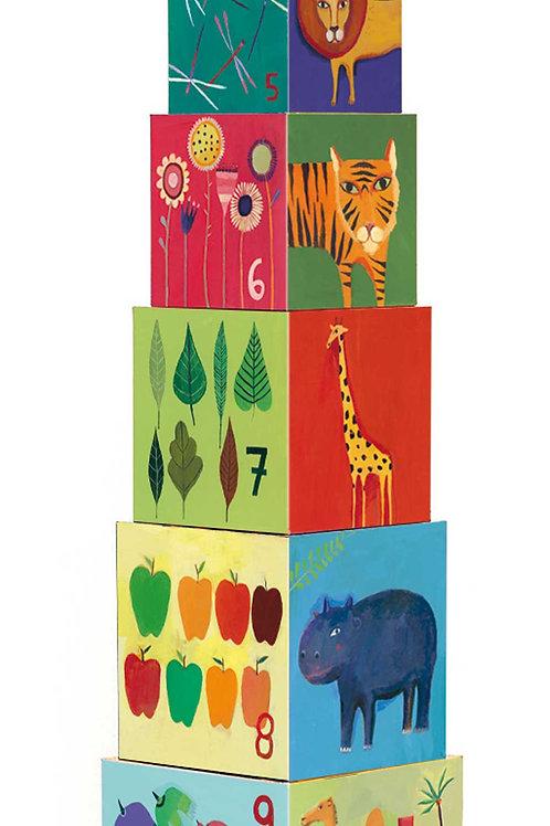 Stapelwürfel - 10  Tiere und Natur Blocks -Djeco