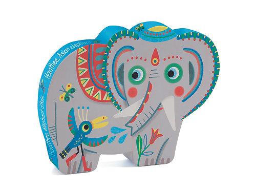 Puzzle Silhouette asiatischer Elefant