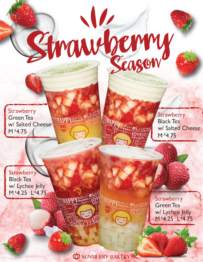 Strawberry Drinks are Back on Menu! (Only California Sunmerry Stores)