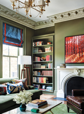 Colorful Boston townhouse library