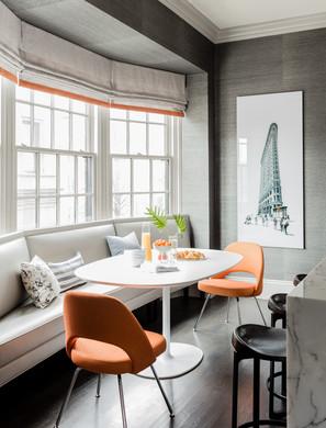 Dee Elms gray orange breakfast room