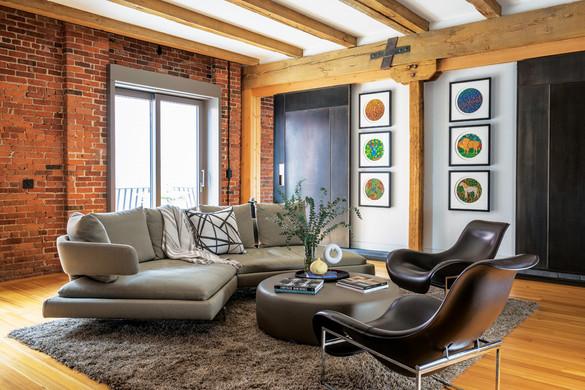 Boston Harbor industrial loft family room