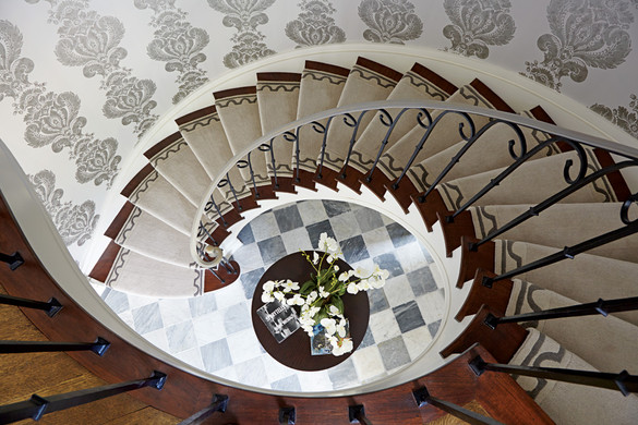 Grand renovated spiral staircase