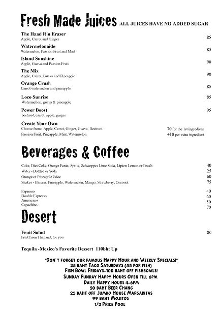ando drinks menu