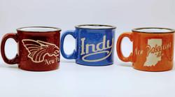 Sand carved coffee mugs
