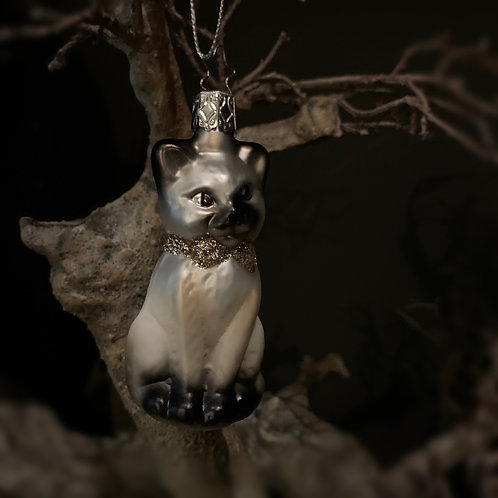 CAT WITH A BOW glass decor hanging