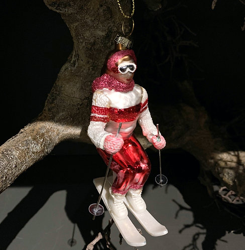 SLALOM SKIER RED Xmas tree decor
