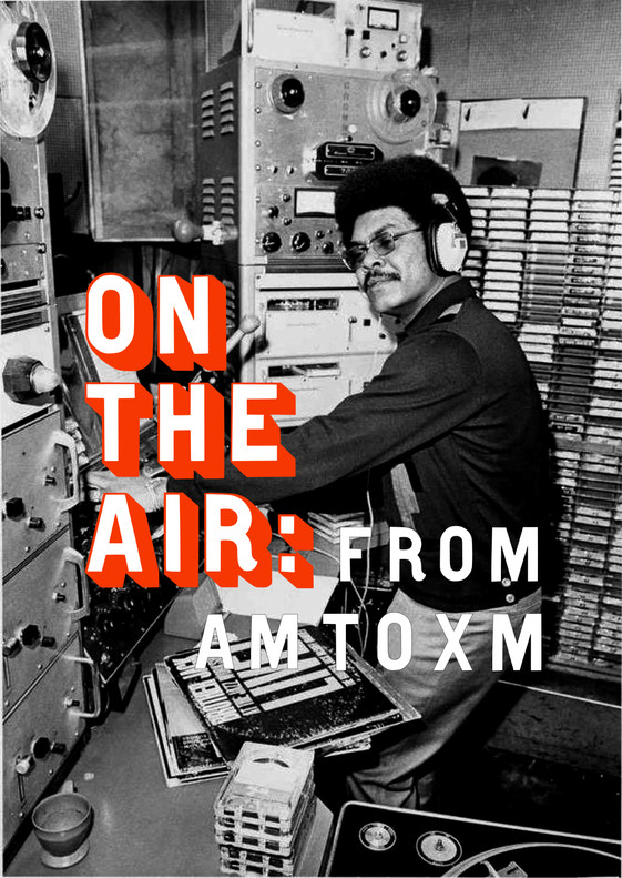 Center wall graphic for ON THE AIR radio exhibit.