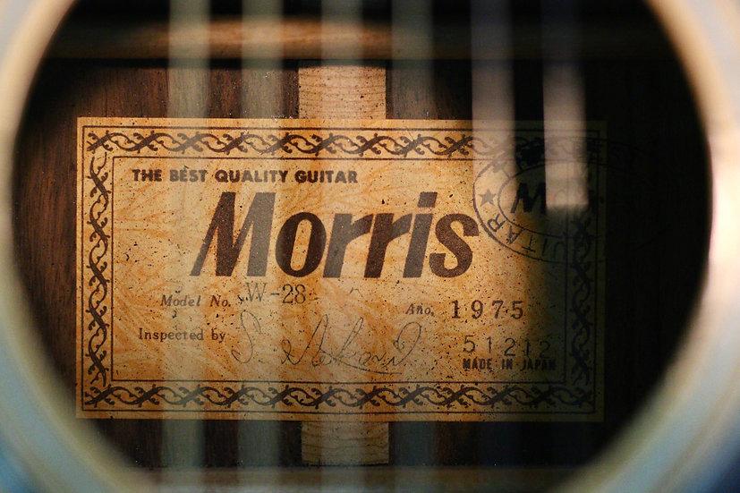Guitar Morris W28 tem vuông cổ từ năm 1975 .