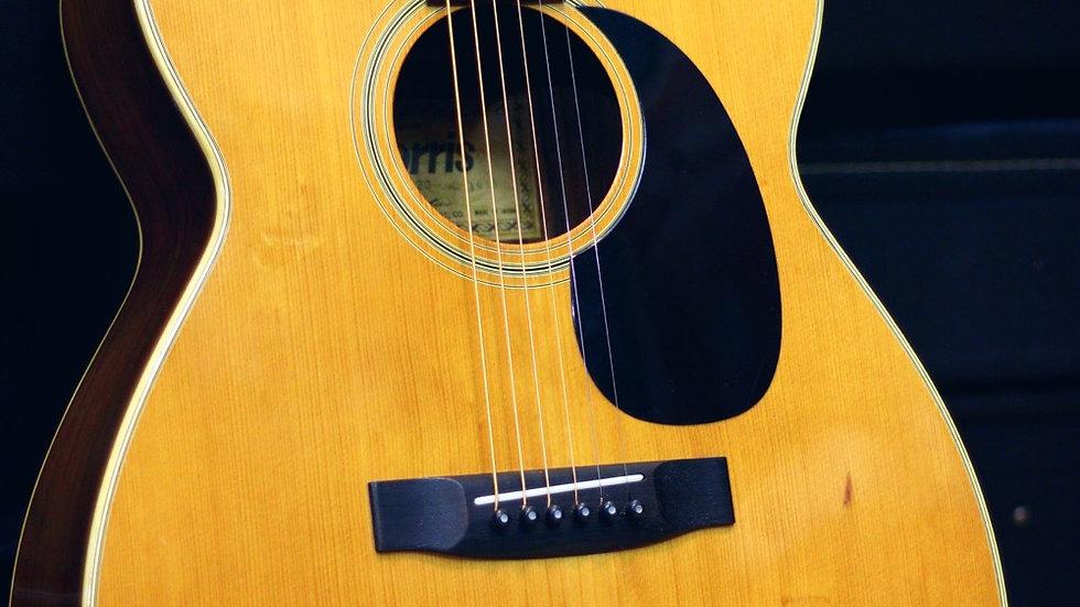 Morris FD20 folk guitar tem vuông 1973