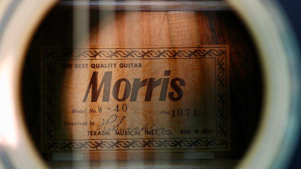 Guitar Morris W40 tem vuông cổ từ năm 1974 .