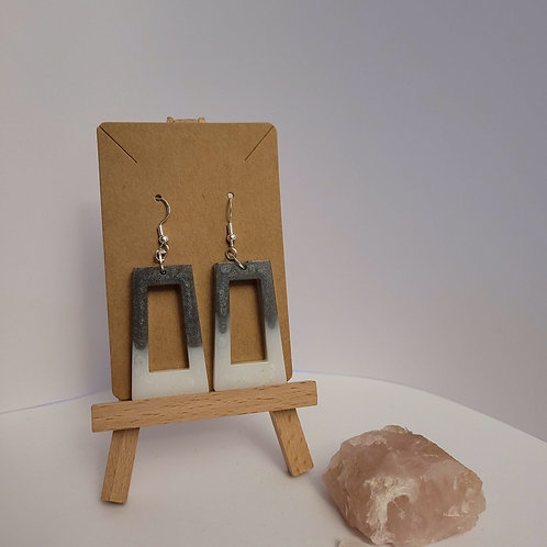White And Grey Statement Earrings