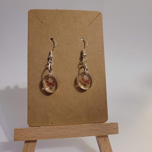 Warm Orange Butterfly Oval Earrings