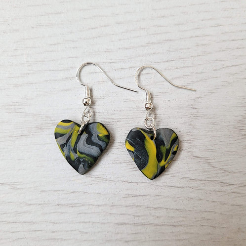 Black, Grey and Yellow Marble Heart Earrings