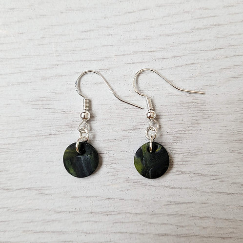 Black, Grey and Yellow Marble Small Earrings