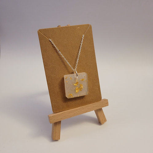 Gold Leaf And White Shimmer Square Necklace