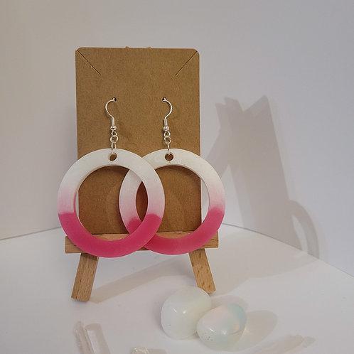 Pink And White Large Hoop Earrings