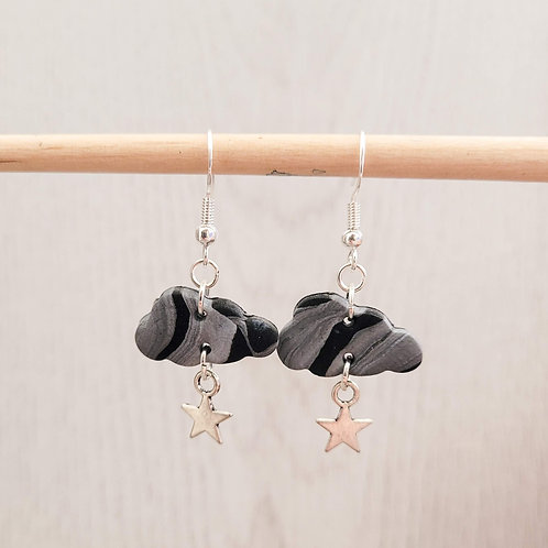 Storm Cloud Earrings With Star