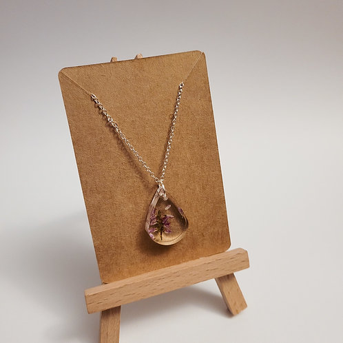 Delicate Necklace with real Heather