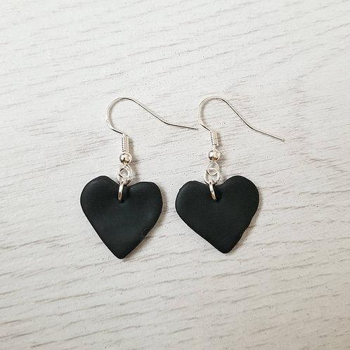 Black Heart Dangly Earrings
