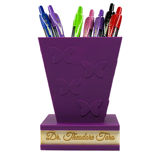 Butterfly Pen/Pencil Holder with Personalized Wooden Name Plate