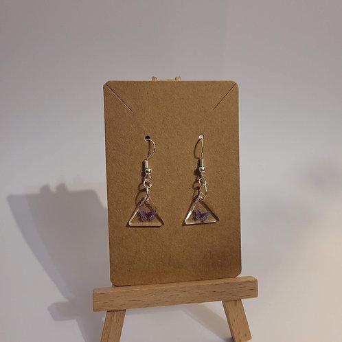 Dainty Triangle Purple Butterfly Earrings