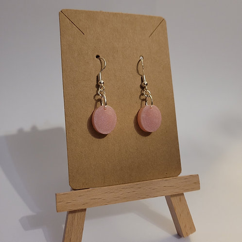 Shimmery Pink Oval Dangly Earrings