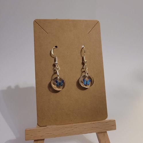 Delicate Deep Blue Butterfly Earrings