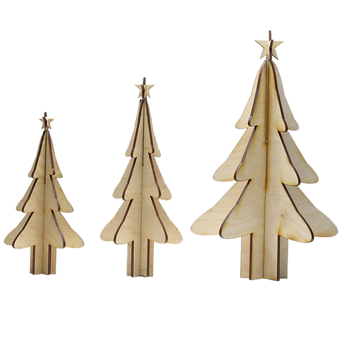 Wooden Trees | Set of 3