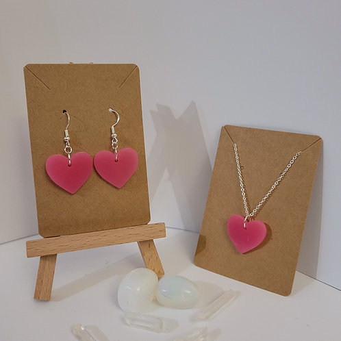 Large Pink Heart Earrings And Necklace Set